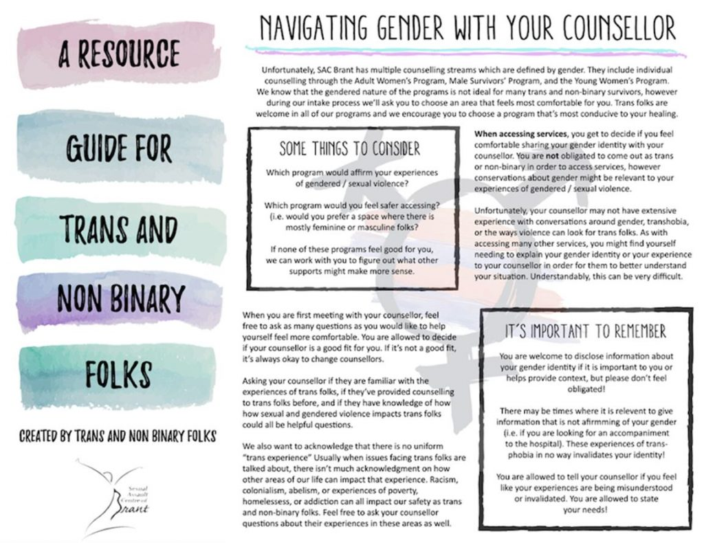 Image of the front page of the Guide For Trans and Non-Binary Folks that was created for SAC Brant by Trans and Non-Binary folks.