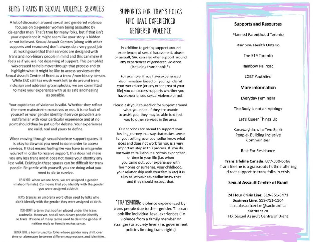 Image of the back page of the Guide For Trans and Non-Binary Folks that was created for SAC Brant by Trans and Non-Binary folks.